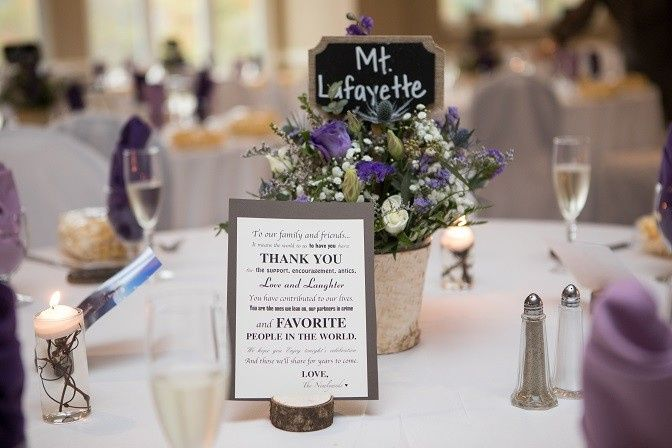 Table card and centerpiece | Photo courtesy of Lee Germeroth Photography