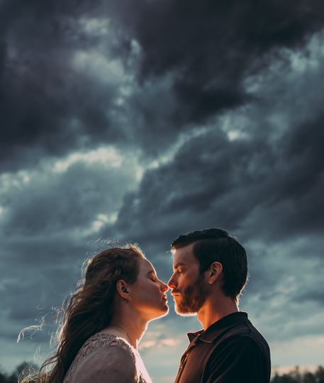 Engagement shoot in the clouds