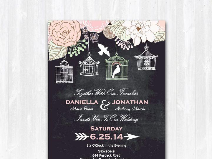 Tmx 1468088786373 Chalkboardbirdcageweddinginvitation Highland Lakes, New Jersey wedding invitation
