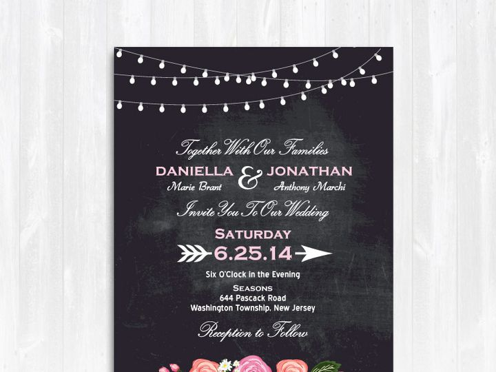 Tmx 1468088786398 Chalkboardstringlightspeoniesweddinginvitatino Highland Lakes, New Jersey wedding invitation