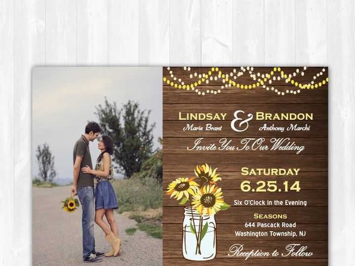 Tmx 1468088798470 Weddinginvitationwoodsunflowersphoto Highland Lakes, New Jersey wedding invitation