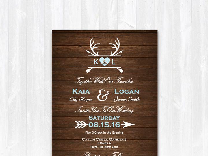 Tmx 1468088804343 Weddinginvitearrowsdeerwoodblue Highland Lakes, New Jersey wedding invitation