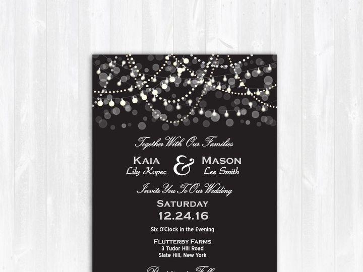 Tmx 1468088810964 Weddinginviteblacklightssilverglittergray Highland Lakes, New Jersey wedding invitation