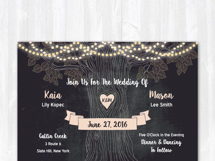 Tmx 1468088828805 Weddinginvitechalkboardcentertree Highland Lakes, New Jersey wedding invitation