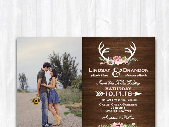 Tmx 1468088840997 Weddinginvitephotowooddeer Highland Lakes, New Jersey wedding invitation