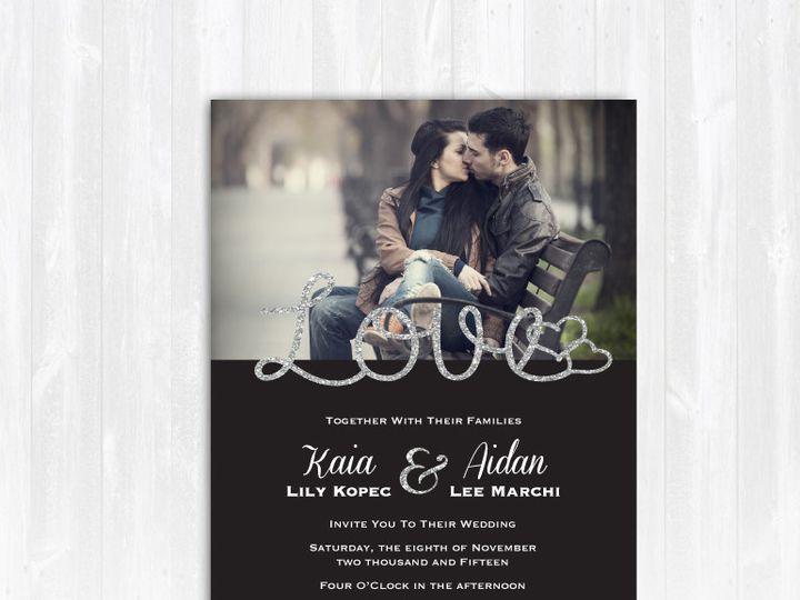 Tmx 1468088846975 Weddinginvitesilverglitterphotolove Highland Lakes, New Jersey wedding invitation
