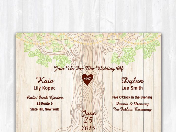 Tmx 1468088854038 Weddinginvitetreelightslightwoodcentered Highland Lakes, New Jersey wedding invitation
