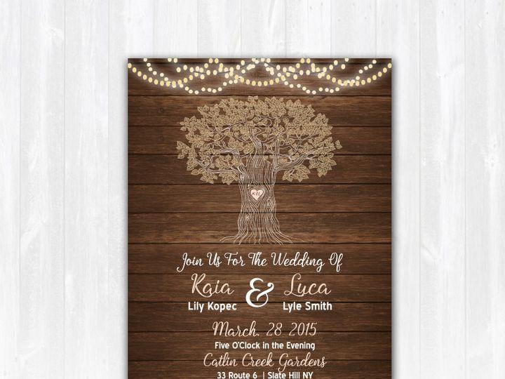 Tmx 1468088860759 Weddinginvitewoodcentertreelights Highland Lakes, New Jersey wedding invitation