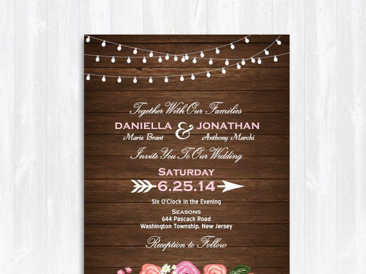 Tmx 1468088916913 Woodstringlightspeoniesweddinginvitation Highland Lakes, New Jersey wedding invitation