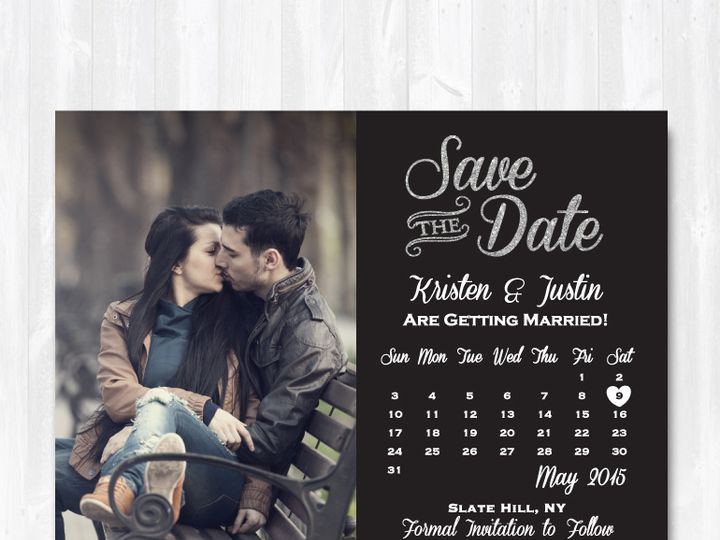 Tmx Save The Date Silver Glitter Calendar 51 158405 Highland Lakes, New Jersey wedding invitation