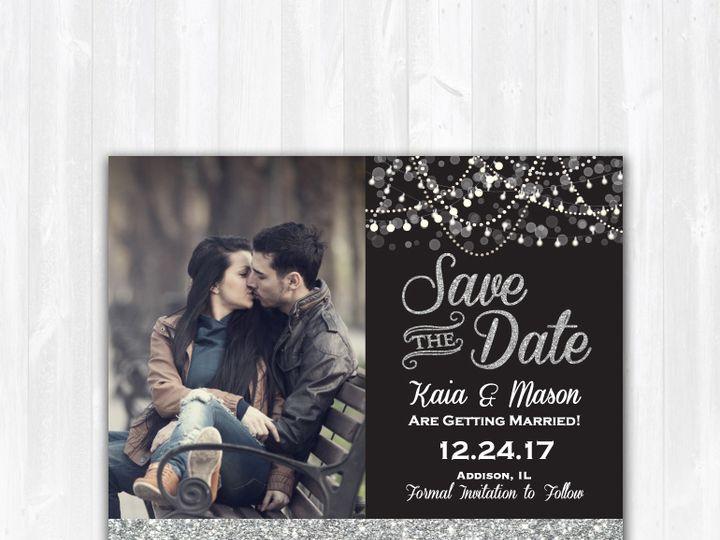 Tmx Savethedate Glitter Stringlights 51 158405 Highland Lakes, New Jersey wedding invitation