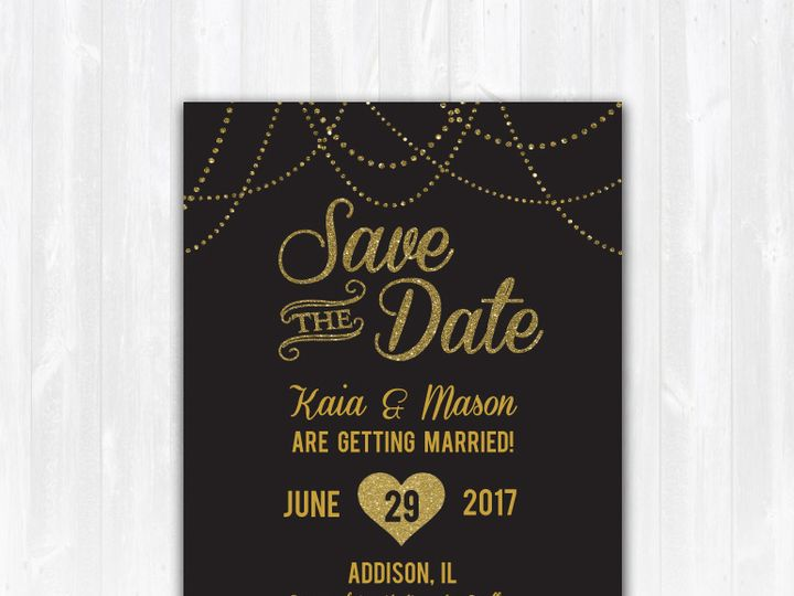 Tmx Savethedate Goldglitter Stringlights Nophoto 51 158405 Highland Lakes, New Jersey wedding invitation