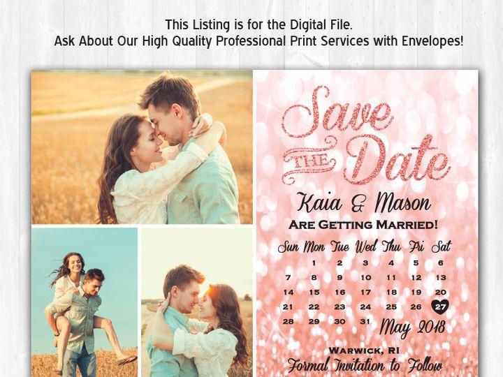 Tmx Savethedate Rosegoldglitterbackground 3photos 51 158405 Highland Lakes, New Jersey wedding invitation
