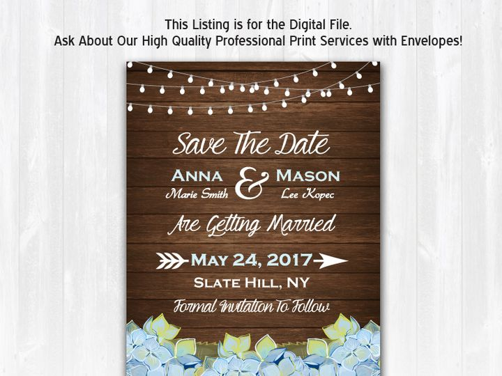 Tmx Savethedate Wood Bluehydrangea Nophoto 51 158405 Highland Lakes, New Jersey wedding invitation