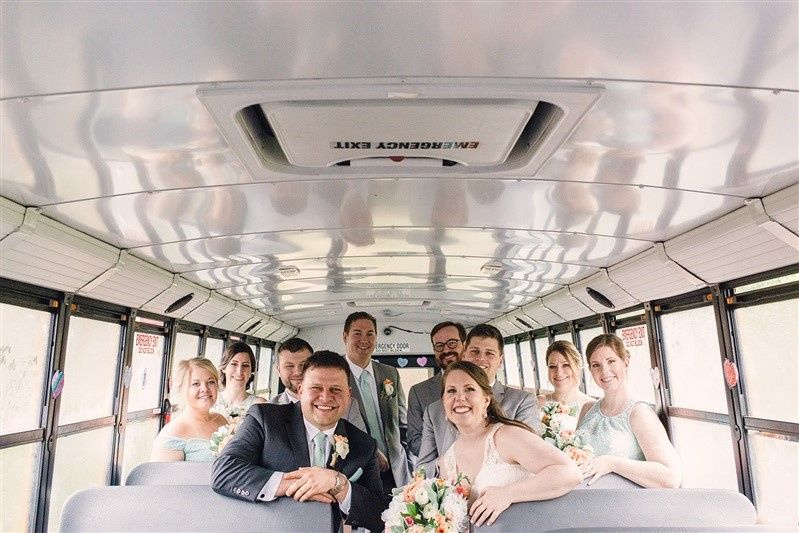 Wedding party inside the bus
