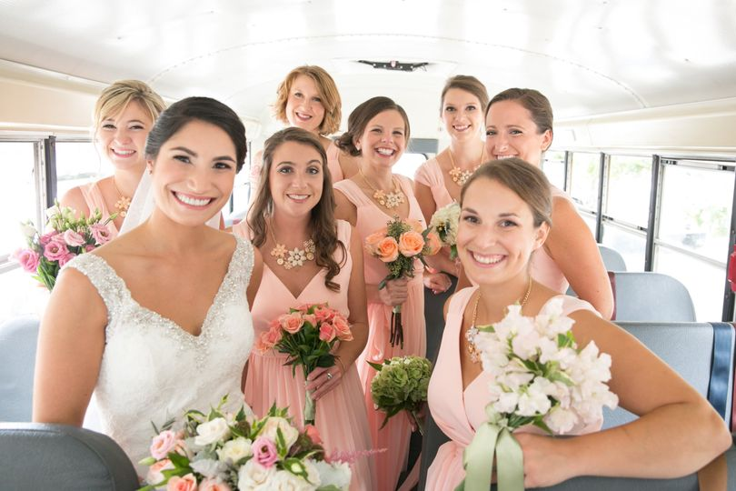 Bridal Party on the school bus