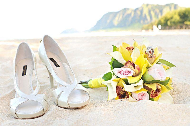 Bride's shoes and bouquet