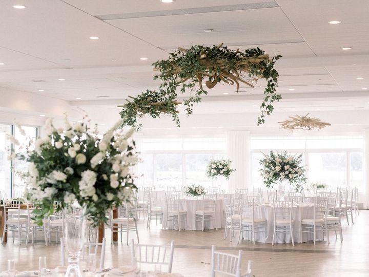 Tmx Newport Beach House Eventide With Greenery In Chandeliers Molly Anne Photography 51 903505 158464275119332 Middletown, RI wedding venue