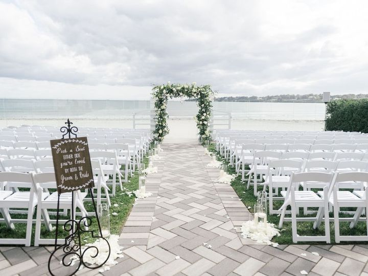 Tmx Newport Beach House Terrace Ceremony With Greenery And Flowers On Arch Molly Anne Photography 51 903505 158464275148510 Middletown, RI wedding venue