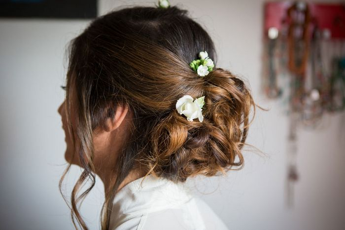 Real bride updo with flowers