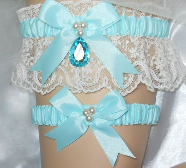 Tiffany Blue satin and Ivory lace traditional garter set with crystal gem drop.
