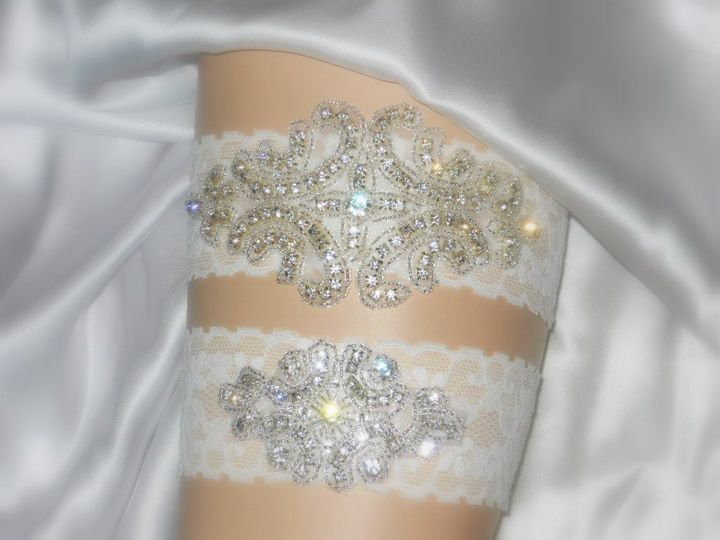 Deluxe Crystal Garter Set in comfy stretch lace available in White, Ivory, Baby Blue, Rose pink,...