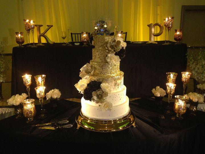 Candlelit wedding cake table