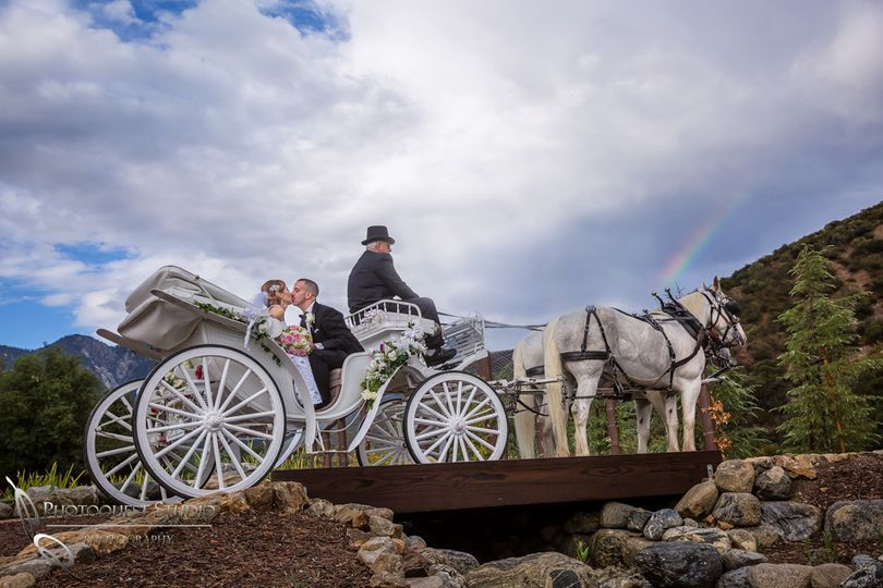 horse carriage and rainbow at serendipity garden w