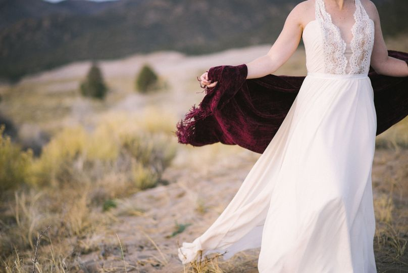 Elegant wedding gown in breeze, Photo Credit: Green Blossom Photography