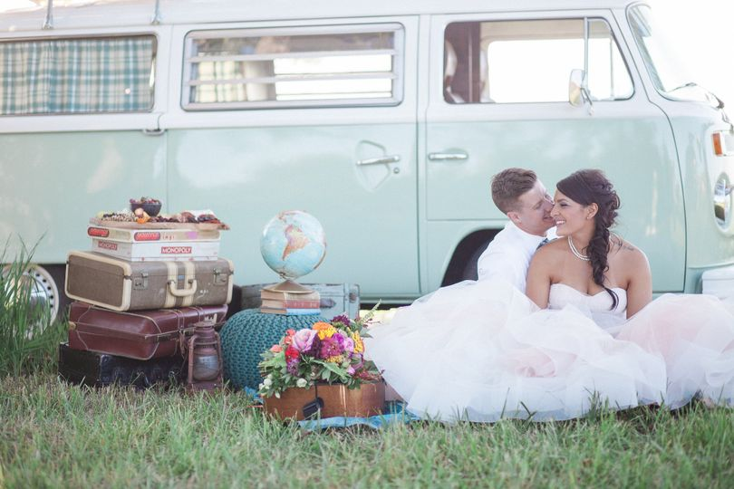 Couple in front of old van, Photo Credit: Becky Schwartz Photography