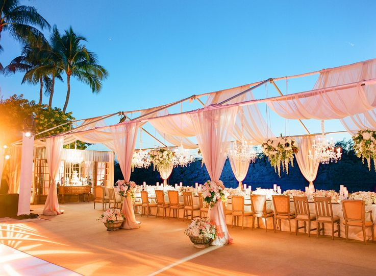 OPEN FRAME TENT WITH OUR DRAPE ENHANCEMENT ON TOP & SIDES