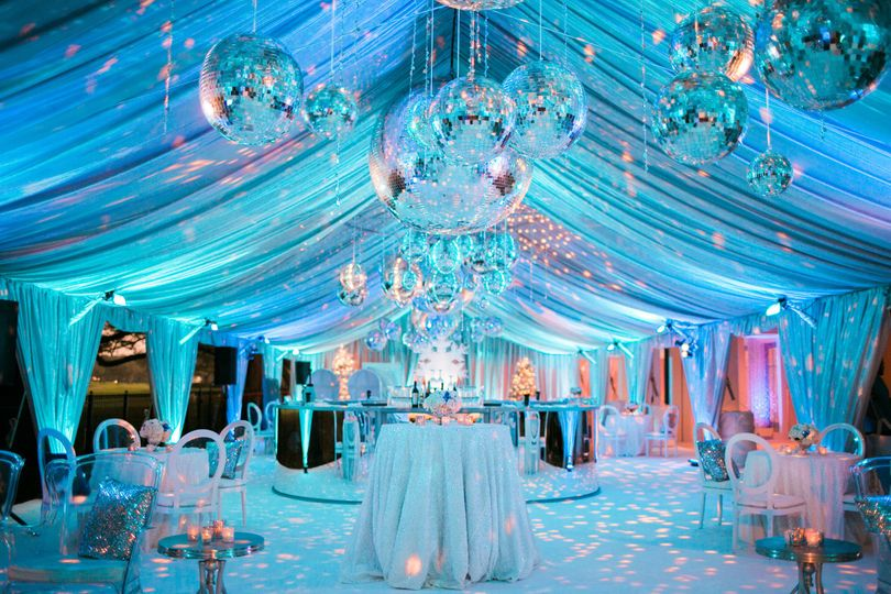 DISCO FEVER CUSTOM CEILING & SIDE WALL TREATMENT WITH SWAGS ASSORTED GLASS MIRRORED DISCO BALLS UP...