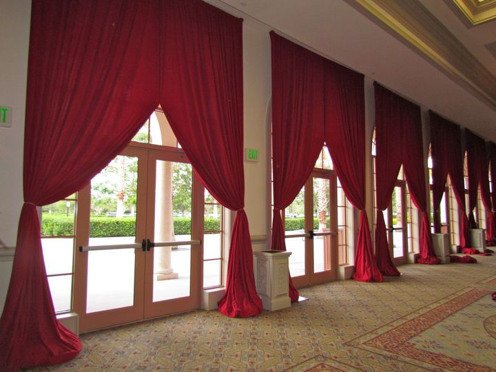 RED ENCORE DRAPING SWAGED BACK