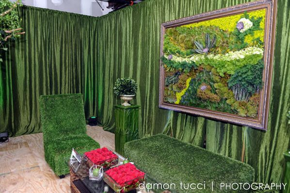 MOSS TERGALET WITH CUSTOM FLORAL DESIGN BY RAINING ROSES AND GRASS FURNITURE BY AFR FURNITURE RENTAL
