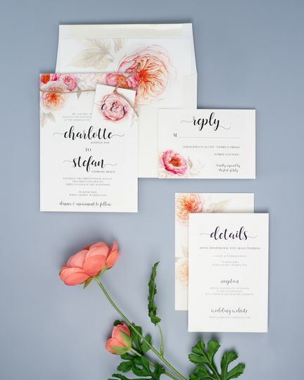 Rustic floral stationery