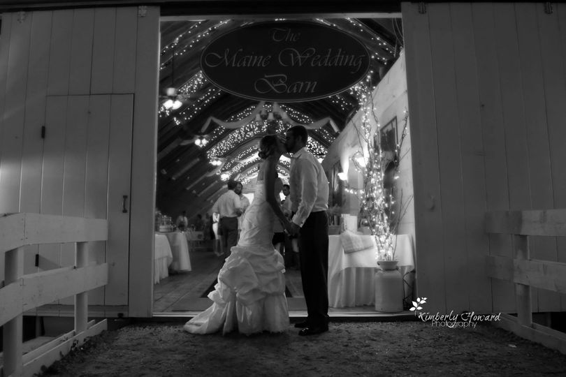Maine Wedding Barn front entrance...kiss!