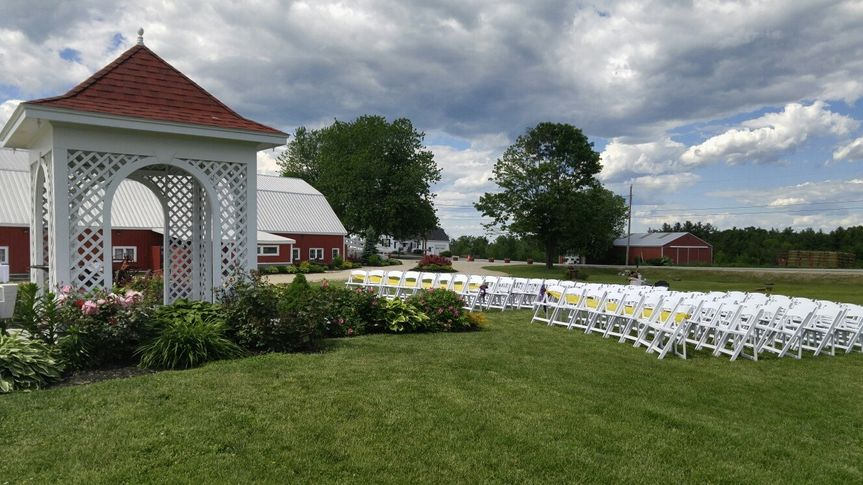 Maine Wedding Barn Gazebo Lawn.