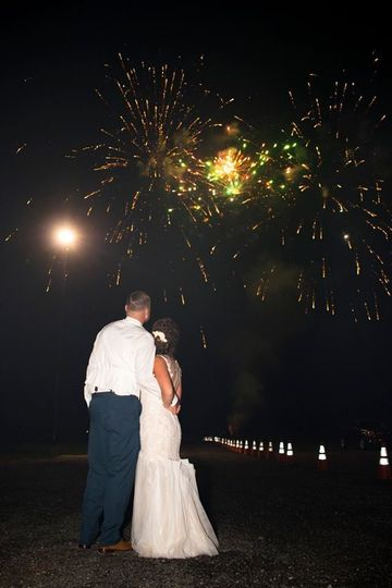 Couple's portrait under the fireworks