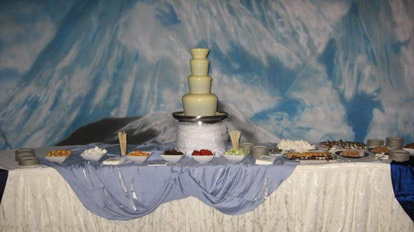 White Chocolate fountain was a perfect choice for this Colorado Rockie Snow themed corporate event.