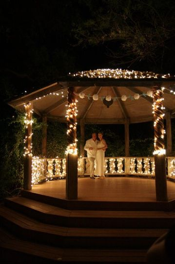 Enjoying a quiet moment during the evening in the gazebo