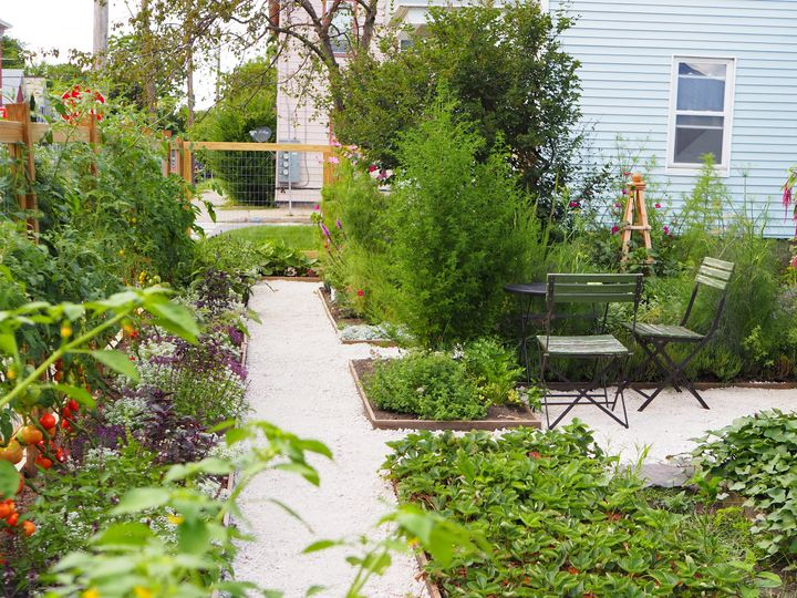 Formal, potager-style garden