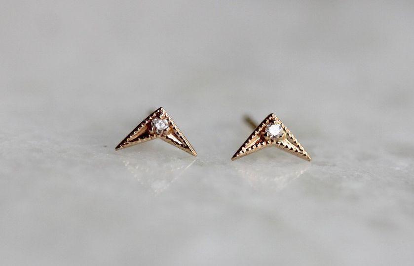 CHEVRON DIAMOND STUDS