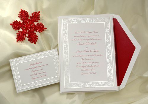 This bright white card is a winter wedding wonderland! Snowflakes dance in the pearl border while...