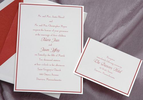 This bright white invitation is framed with crystal foil and crimson ink. It is simple, yet...