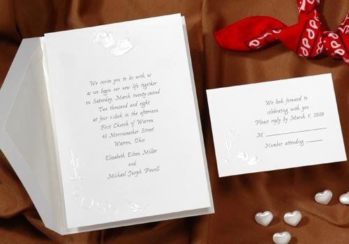 This bright white card features pearl embossed cowboy hats and hearts. Add some country western...