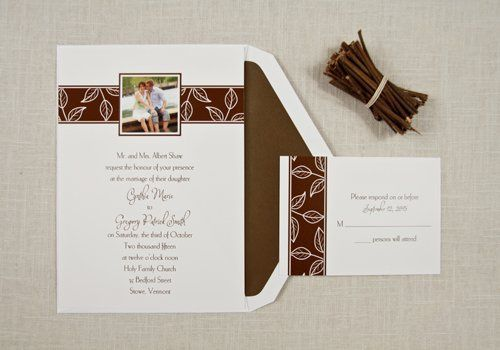 Fall in love with this adorable invitation! Your favorite photograph is surrounded by an autumn leaf...