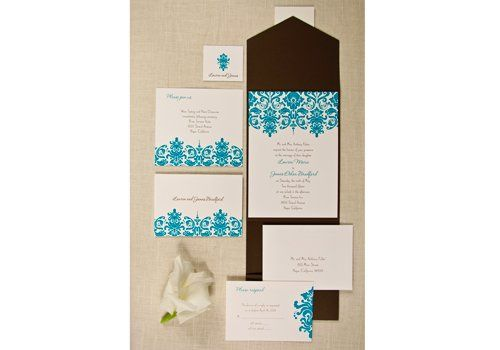 Your wording is flat printed in mocha while your names match the damask pattern in aqua on luxurious...