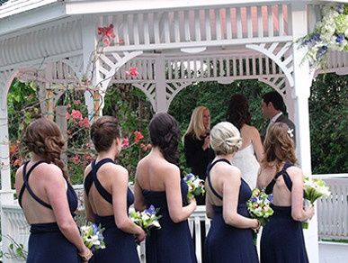 Bridesmaids watching the newlyweds