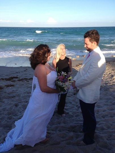 Leading the beach wedding