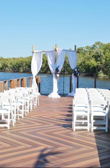 Beautiful dock side ceremonies overlooking the Gordon River
